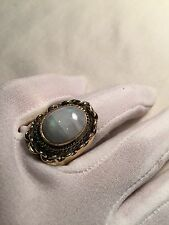 Antique Vintage Genuine Rainbow Moonstone Bronze Size 7 Ring