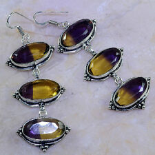 "FREE SHIPPING AMETRINE EARRINGS 3 1/4""; K39536"