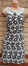 FLORENCE FRED WHITE BLACK LACE CROCHET COLLAR SMOCK TUBE PARTY TEA DRESS 8 S
