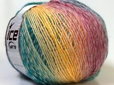Lot of 4 x 100gr Skeins Ice Yarns MIRAGE COLOR (50% Wool) Yarn Yellow Emerald Gr