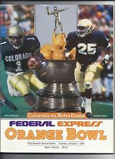 1991 Orange bowl Game Program Colorado Notre Dame