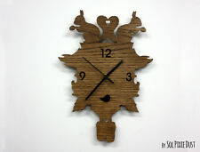 Squirrel Modern Cuckoo Silhouette - Wooden Wall Clock
