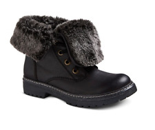 Womens Mossimo Trina Shearling Style Ankle Winter Boots Faux Fur Black 6
