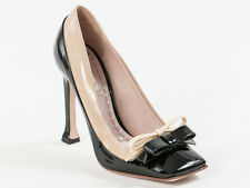 New Miu Miu by  Prada Black & Beige Patent Leather Pumps Size 40.5 US 10.5