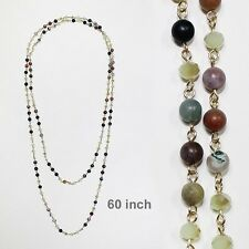 "60"" Long Green Stone and Crystal Beaded Wrap Around Necklace 8mm"