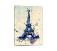 Paris Eifelturm 90x60cm Leinwandbild Wandbilder Kunst Blau Aquarell Caro Art