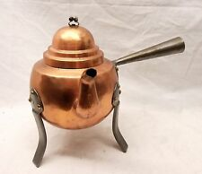 Vtg Copper Swedish Coffee Pot Kettle Tea Pot Hammered Teapot Tripod Arts Crafts