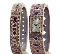 """Heidi Daus """"Double Trouble"""" Crystal Bangle and Watch Set *Amethyst-Rose* NEW"""