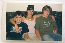 Vintage PHOTO Young Punkrock Dressing Mother Of Two Boys In Middle On The Couch