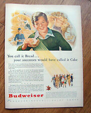 1943 Budweiser Beer Ad You Call it Bread Ancestors called it CAKE