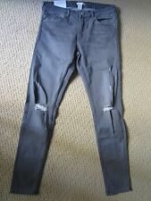 WOMENS H&M SKINNY SUPER STRETCH GRAY DESTROYED JEANS SIZE 12 US/ 42 EUR NWT
