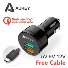 Aukey Quick Charge 2-Port USB Black 2.0 30W Car Charger Adapter with cable