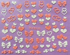 Nail Art 3D Decal Stickers Pink & White Hearts & Bows BLE637D