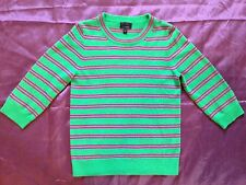 J.Crew 100% Italian Cashmere Sweater Woman's Green With Pink Stripes Size Medium