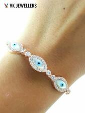TURKISH HANDMADE JEWELRY KIM'S 925 SILVER EVIL EYE NAZAR TENNIS BRACELET B2669