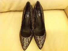 M&S Stiletto High Heel Black & Gold Glitter Point Court Shoes with Insolia