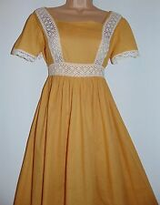 Laura Ashley vintage Regency style cotton & bobbin lace maxi nightgown dress, M