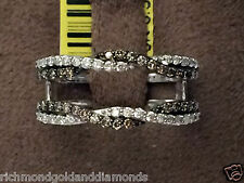 White Gold Wave Solitaire Enhancer Chocolate Champagne Diamonds Ring Guard Wrap