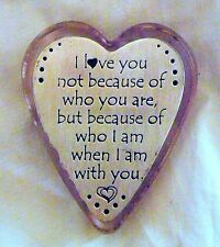 USA-Made Pink Glass and Pewter Heart Paperweight w/ Saying About Love