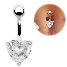 Heart-shaped Cubic Zirconia Navel stud Belly Button Bar Ring Surgical Steel E297