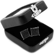 Men's Black Princess Cut Square Cz Basket Screw Back Stud Earrings L E60