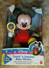 Vintage  Disney Touch N Surprise Baby Mickey Mouse Mattel Baby Rattle Toy