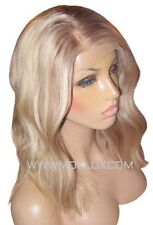 "Human Hair Wig Front Lace 14"" Wavy Light Ash Blonde Brown 9 60 Roots Highlights"