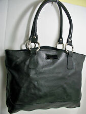 Claudia Firenze Italy Black Pebbled Leather Satchel Bag Shoulder Bag Lg Tote Exc