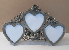 Small ROSE FLOWERS~ Heart Shape metal Picture/Photo Frame-free stand~home decor