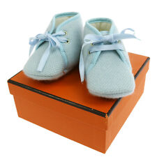 Authentic HERMES Logos Baby Shoes Light Blue Vintage With Box V05703
