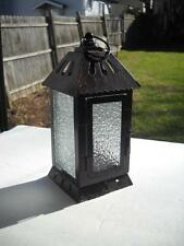 """Candle Lantern Standing 8"""" Tall And Measuring 3-12"""" Square - Pebbled Glass"""