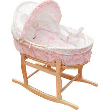 Pink Baby Carrier Moses Basket Bassinet w/ Rocking Stand & Cotton waffle Bedding