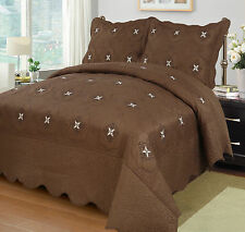3Pcs Embroidery Quilts Bedspreads Set Bedding Coverlet Ensemble Queen King Size
