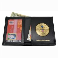 U S Army Medallion Mens Black Leather Bi Fold Billfold Wallet Military Veteran
