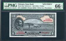 Ethiopia ND (1945) P-12s2 PMG Gem UNC 64 EPQ 1 Dollar *Specimen*