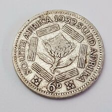 1932 - Silver - 6d / Six Pence - South Africa - King George V - Rare Coin
