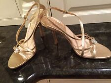 """Christian Dior Gold Leather Strappy 4"""" Heels Flower Jewel, Size 38, US 8."""