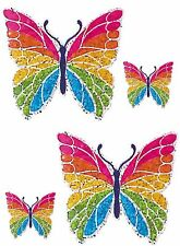 Set 4x sticker decal car laptop macbook kitchen butterfly rainbow kid bike room