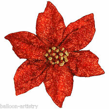 Christmas RED Large 20cm Poinsettia Glitter Flower Clip On Decoration