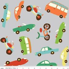 "Wheels 2 Cars Bicycle bus C5040 Gray Riley Blake 100% Cotton 43"" Fabric x Yard"