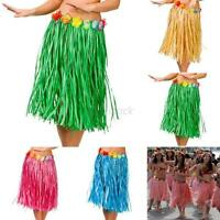 Hawaiian Men Women Dress Hula Grass Skirt W/Flower Women Adult Beach Party Wear
