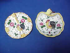 2 Pieces Early Provincial JAPAN Rooster & Roses Lemon Plate Handled Candy Dish