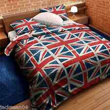 UNION JACK RED WHITE BLUE DOUBLE COTTON MIX FLAG QUILT COMFORTER DUVET COVER