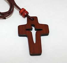 "Christian Wooden Wood Pectoral Cross with 34"" Rope Cord Necklace – Salvation"