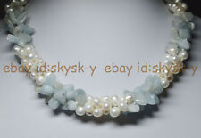 3 Rows Real Natural White Pearl Blue Aquamarine Gems Jewelry Necklaces 18""