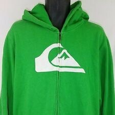 Quiksilver Hoodie Sweatshirt Full Zip Fleece Lined Green Mens Size L EUC