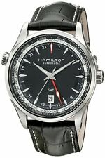H32695731 Hamilton Jazzmaster GMT Auto Mens Watch Black Dial Black Leather Strap