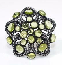 Victorian 9.50ctw AAA Gem Peridot & Rose Cut Diamond Sterling Silver Ring 14g