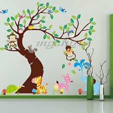 Jungle Animals Monkey Owl Tree Removable Wall Decal Stickers Nursery Room Decor
