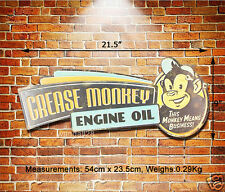 GREASE MONKEY Engine Oil Embossed Metal Sign Wall Decor Garage Display